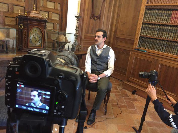 Un momento de la grabación de la entrevista ficticia a D. Antonio Jaén Morente.